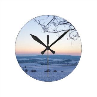 Winter landscape in Germany in the morning Clocks