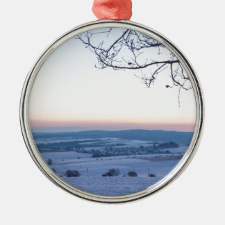 Winter landscape in Germany in the morning Silver-Colored Round Ornament