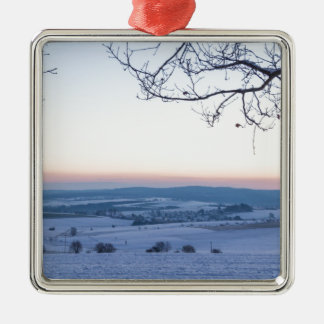 Winter landscape in Germany in the morning Silver-Colored Square Ornament