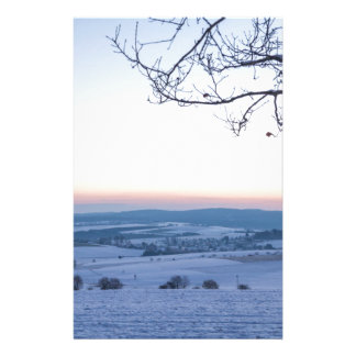 Winter landscape in Germany in the morning Stationery
