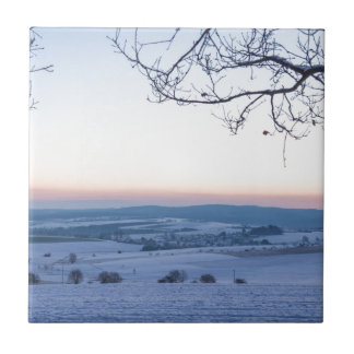 Winter landscape in Germany in the morning Tile