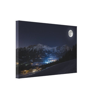 Winter landscape of mountains moonlight canvas print