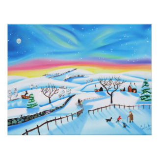 winter landscape painting Northern lights Poster