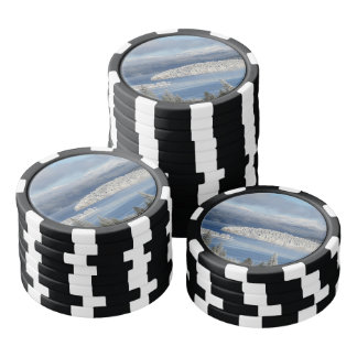 Winter landscape set of poker chips