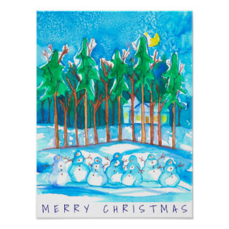 Winter Landscape Snowman Merry Christmas Poster