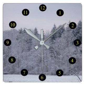 Winter Landscape Square Wall Clock