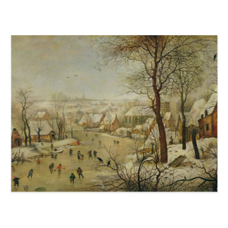 Winter Landscape with Bird Trap (oil on panel) Postcard