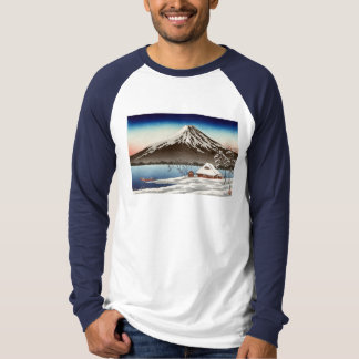 Winter landscape with view of Mount Fuji Tshirt