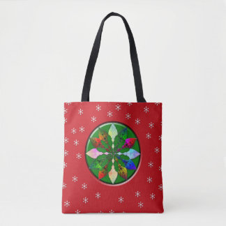 Winter Leaves and Snow Tote Bag