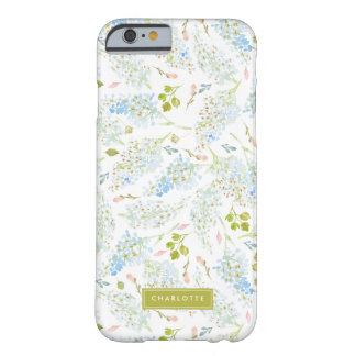 Winter Light Blue Floral Personalized Barely There iPhone 6 Case