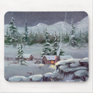WINTER LOG CABIN by SHARON SHARPE Mouse Pad