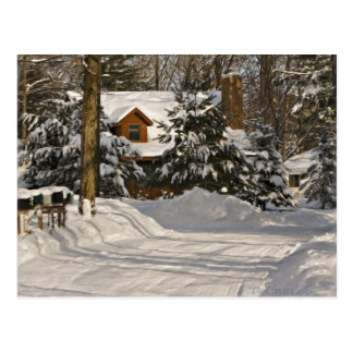 Winter Log Cabin Postcard