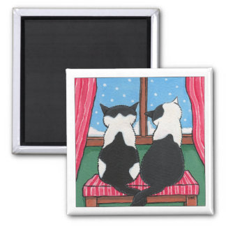 Winter Love Cats Holding Tails | Cat Art Magnet