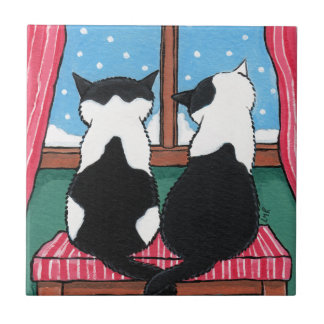 Winter Love | Whimsical Cat Art Tile