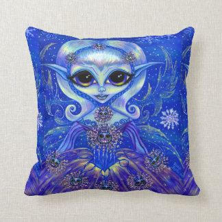Winter Magic Fairy Doll with Cats & Snowflakes Throw Pillow