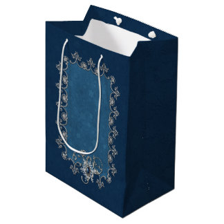 Winter Magic Silver and Snow on Midnight Blue Medium Gift Bag