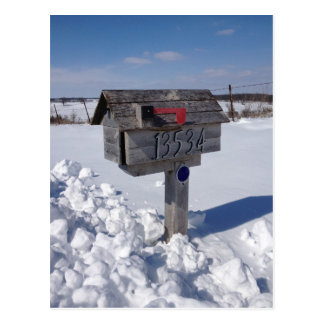 Winter mailbox postcard