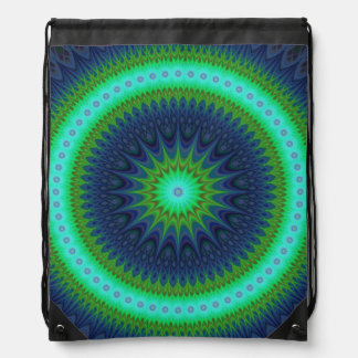 Winter mandala drawstring bag