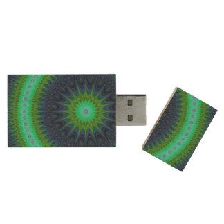 Winter mandala wood USB 3.0 flash drive