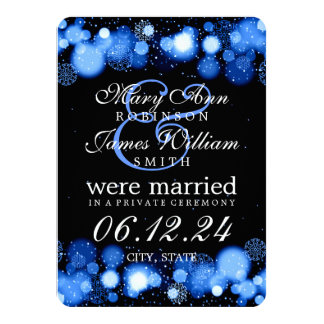 "Winter Marriage / Elopement Blue Lights 4.5"" X 6.25"" Invitation Card"