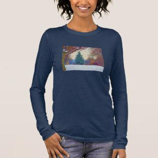 Winter Meadow Scene Long Sleeve T-Shirt