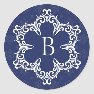 Winter Monogram B Sticker in Navy