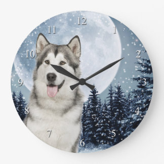 Winter Moon Husky Clock