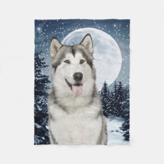 Winter Moon Husky Fleece Blanket