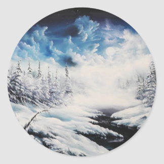 Winter Moon snow scene on customizable products Round Sticker