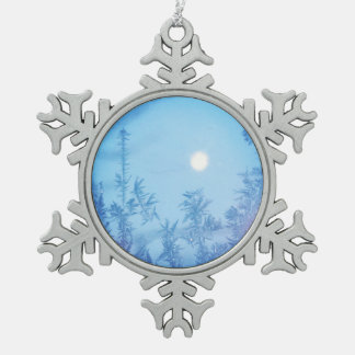 Winter moon snowflake pewter christmas ornament