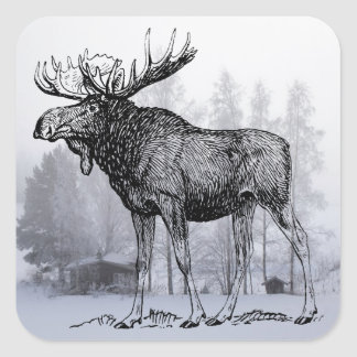 Winter Moose Square Sticker