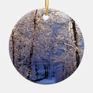 Winter Morning Light Falls Trail Nashville Round Ceramic Ornament