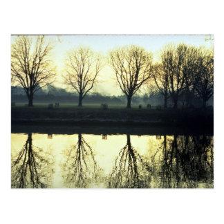 Winter morning reflection on Thames River, London, Postcard