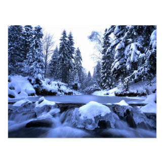 Winter mountain river- Beskid Mountains, Poland Postcard