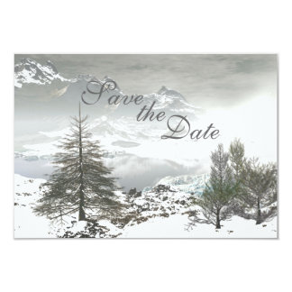 "Winter Mountain Save the Date Wedding Announcement 3.5"" X 5"" Invitation Card"