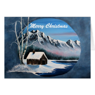 Winter mountain scene, card