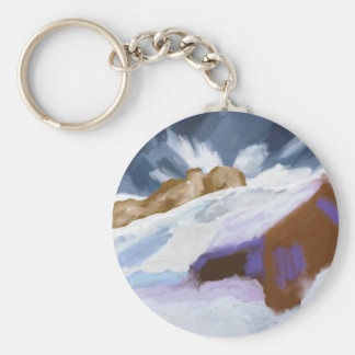 Winter Mountains Art Keychain