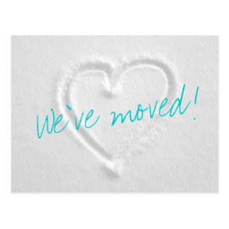 Winter Moving postcards with drawn heart in snow