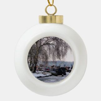 WINTER NARROWBOATS CERAMIC BALL CHRISTMAS ORNAMENT