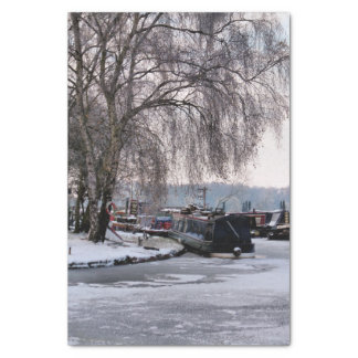 WINTER NARROWBOATS TISSUE PAPER
