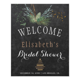 Winter nature chalkboard watercolor bridal shower poster