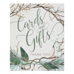 Winter nature green script cards and wedding sign