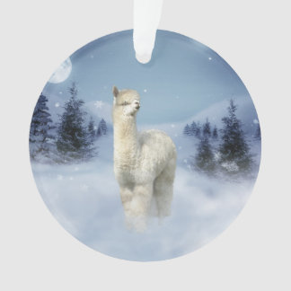 Winter Night Alpaca Christmas Ornament