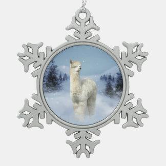 Winter Night Alpaca Pewter Snowflake Ornament