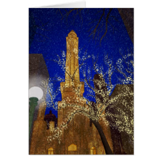 Winter Night at the Water Tower Card