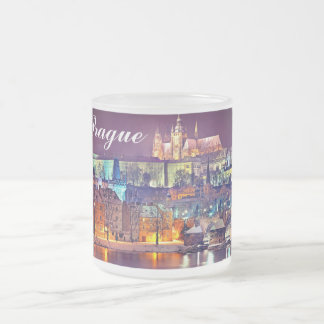 Winter night in Prague. Frosted Glass Coffee Mug