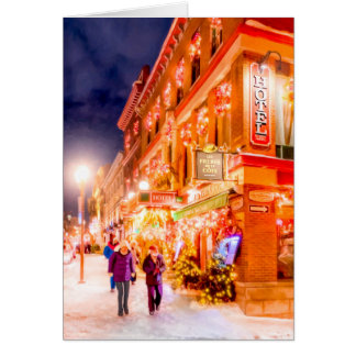 Winter Night In Quebec City Card