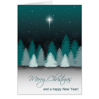 Winter Night with Star of Bethlehem Greeting Card