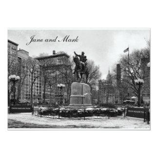 Winter, NYC's Union Square B&W Wedding invitation