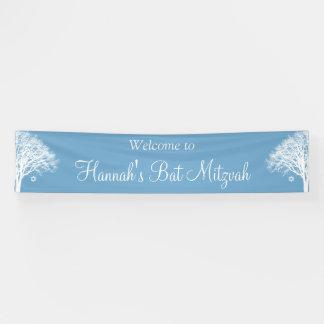 Winter Oak Tree Blue White Bat Mitzvah Banner